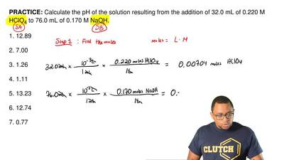 Calculate the pH of the solution resulting from the addition of 32.0 mL of 0.2...