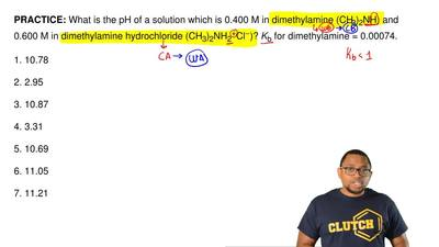 What is the pH of a solution which is 0.400 M in dimethylamine (CH3)2NH) and ...