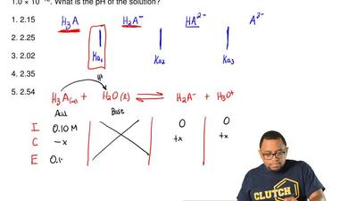 Consider a solution that is 0.10 M in a weak triprotic acid which is represent...