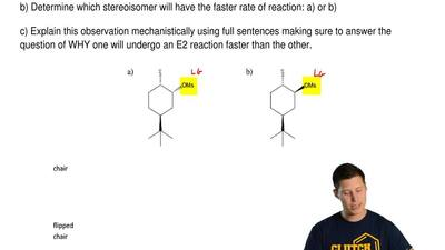 One of the stereoisomers below undergoes E2 reactions in the presence of a str...
