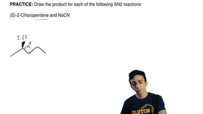 Draw the product for each of the following SN2 reactions:  (S)-2-Chloropentane...
