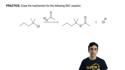 Draw the mechanism for the following SN1 reaction ...