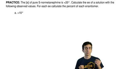 The [α] of pure S-normetanephrine is +20°. Calculate the ee of a solution with...