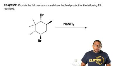 Provide the full mechanism and draw the final product for the following E2 rea...
