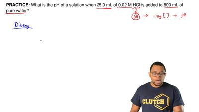 What is the pH of a solution when 25.0 mL of 0.02 M HCl is added to 800 mL of ...