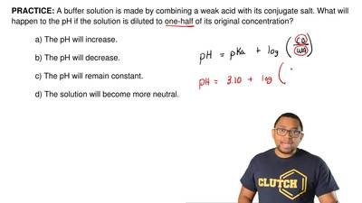 A buffer solution is made by combining a weak acid with its conjugate salt. Wh...