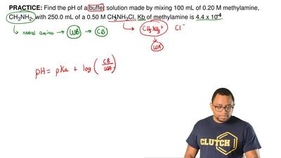 Find the pH of a buffer solution made by mixing 100 mL of 0.20 M methylamine, ...