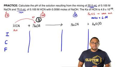 Calculate the pH of the solution resulting from the mixing of 55.0 mL of 0.100...