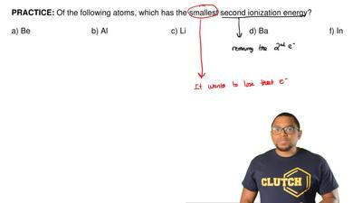 Of the following atoms, which has the smallest second ionization energy?  a) B...
