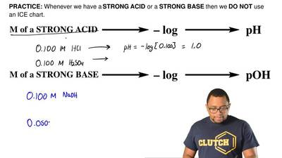 Whenever we have a STRONG ACID or a STRONG BASE then we DO NOT use an ICE char...