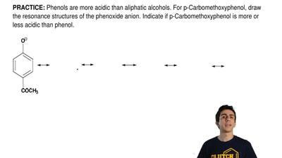 Phenols are more acidic than aliphatic alcohols. For p-Carbomethoxyphenol,dra...