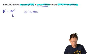 What volume (in µL) of 0.100 M HBr contains 0.170 moles of HBr?  ...