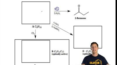 When an unknown hydrocarbon A (molecular formula C8H16), is exposed to Cl2, th...