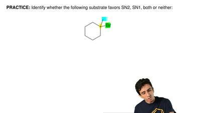 Identify whether the following substrate favors SN2, SN1, both or neither:  ...