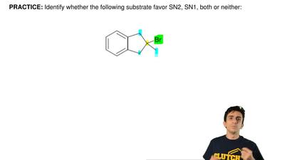 Identify whether the following substrate favor SN2, SN1, both or neither:  ...