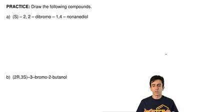 Draw the following compounds.  a) (S) – 2, 2 – dibromo – 1,4 – nonanediol  ...