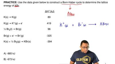 Use the data given below to construct a Born-Haber cycle to determine the latt...