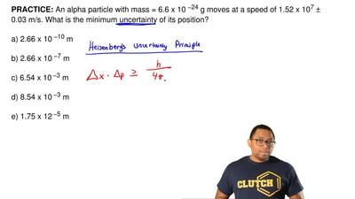 An alpha particle with mass = 6.6 x 10  −24 g moves at a speed of 1.52 x 10 7 ...