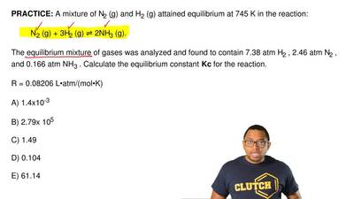 A mixture of N2 (g) and H2 (g) attained equilibrium at 745 K in the reaction: ...