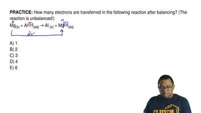 How many electrons are transferred in the following reaction after balancing? ...