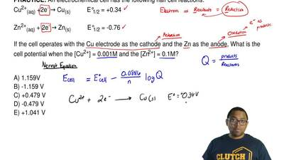 An electrochemical cell has the following half cell reactions: Cu2+(aq) +2e- →...