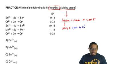 Which of the following is the weakest oxidizing agent?                        ...