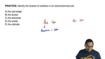 Identify the location of oxidation in an electrochemical cell.  A) the salt br...