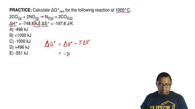 Calculate ΔG°rxn for the following reaction at 1000°C. 2CO(g) + 2NO(g) → N2(g)...