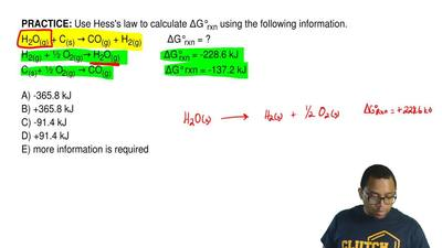 Use Hess's law to calculate ΔG°rxn using the following information. H2O(g) + C...