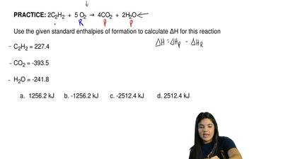 2C2H2  +  5 O2  →  4CO2  +  2H2O   Use the given standard enthalpies of format...