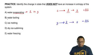 Identify the change in state that  DOES NOT have an increase in entropy of the...