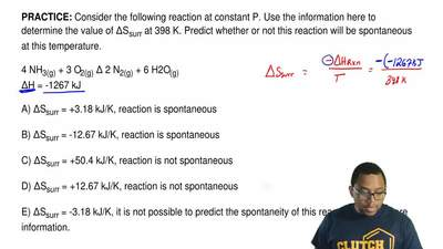 Consider the following reaction at constant P. Use the information here to det...