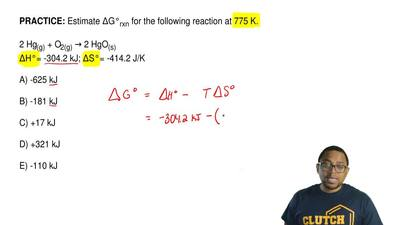 Estimate ΔG°rxn for the following reaction at 775 K.  2 Hg(g) + O2(g) →2 HgO(...