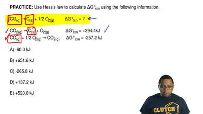 Use Hess's law to calculate ΔG°rxn using the following information.  CO(g) → C...