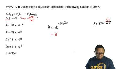 Determine the equilibrium constant for the following reaction at 298 K.  SO3(g...