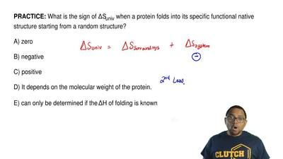 What is the sign of ΔSuniv when a protein folds into its specific functional n...