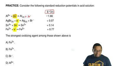 Consider the following standard reduction potentials in acid solution:        ...