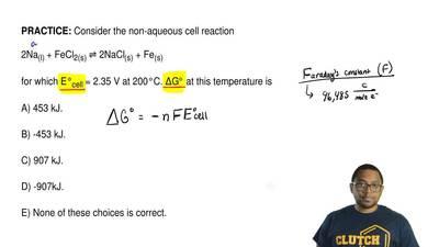 Consider the non-aqueous cell reaction  2Na(l)+ FeCl2(s)⇌ 2NaCl(s)+ Fe(s)  ...