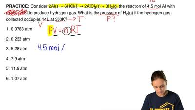 Consider2 Al (s) + 6 HCl (ℓ) →2 AlCl3(s) + 3 H2(g)the reaction of 4.5 mol...