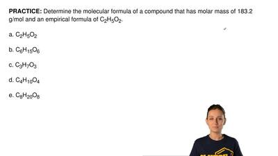 Determine the molecular formula of a compound that has molar mass of 183.2 g/m...