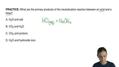 What are the primary products of the neutralization reaction between an acid a...