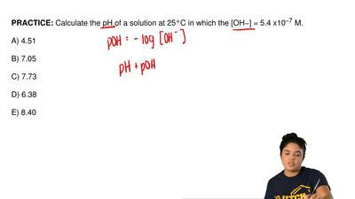 Calculate the pH of a solution at 25°C in which the [OH−] = 5.4 x10  −7 M.  A)...