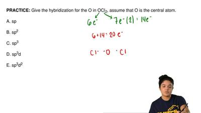 Give the hybridization for the O in OCl 2, assume that O is the central atom. ...