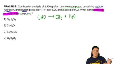 Combustion analysis of 2.400 g of an unknown compound containing carbon, hydro...