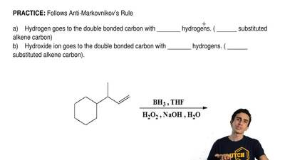 Follows Anti-Markovnikov's Rule  a) Hydrogen goes to the double bonded carb...