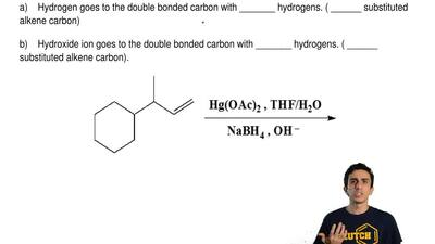Follows Markovnikov's Rule  a)    Hydrogen goes to the double bonded carbon wi...