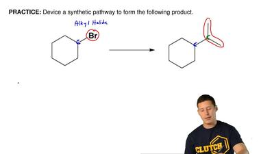 Device a synthetic pathway to form the following product.  ...