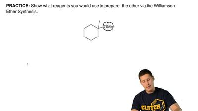 Show what reagents you would use to prepare  the ether via the Williamson Ethe...