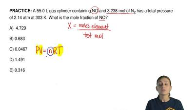 A 55.0 L gas cylinder containing NO and 3.238 mol of N 2 has a total pressure ...