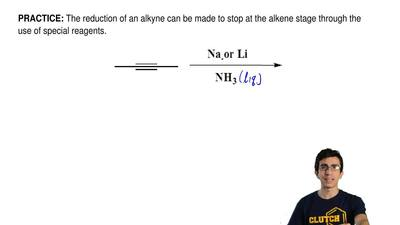 The reduction of an alkyne can be made to stop at the alkene stage through the...